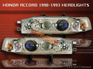 Fit For 1990-1993 HONDA ACCORD PROJECTOR HEADLIGHTS CHROME