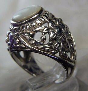 """3/4"""" Vintage Mother Of Pearl Sapphire Flower Sterling Silver 0.925 Ring size 9"""