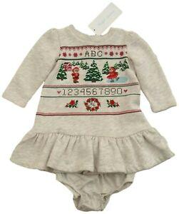 RALPH LAUREN baby girl LS fleece Sampler DRESS SET * Bears in Snow Scene 3/6M