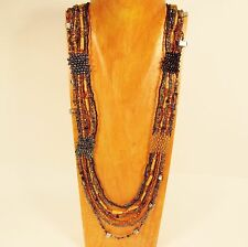 """36"""" Long Multi Strand Handmade Gold Black Seed Bead Woven Statement Necklace"""