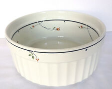 "Gorham ARIANA Casserole Souffle Dish 7"" Gourmet Collection Cream Navy Floral"