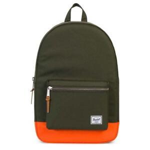 Herschel Supply Co Settlement Backpack Forest Green Orange Laptop Bag Travel