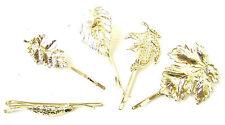 Set of 5 Gold Tone Leaf Hair Clips Bobby Pins Woodland Vintage Bridal Grips 1013