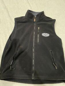 LL Bean Mens Fleece Vest Size Large L Black Left chest fish embroidery