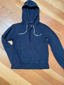 J Crew Pullover Navy Blue French Terry Hoody V Neck Sweatshirt Women's Size M