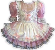 """Anne"" CUSTOM Fit Pink & White Satin Bows Adult Little Girl Sissy Dress LEANNE"