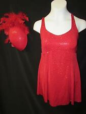 NEW!  PRETTY RED DANCE LYRICAL BALLET COSTUME WITH HAT!  ~  MEDIUM CHILD