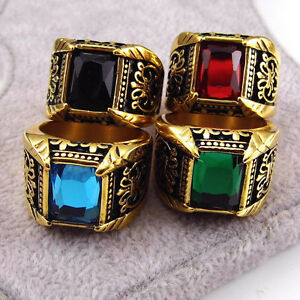 Men's Titanium Stainless Steel  Glass Dril Ring With Stone Ring Size 9,10,11,12
