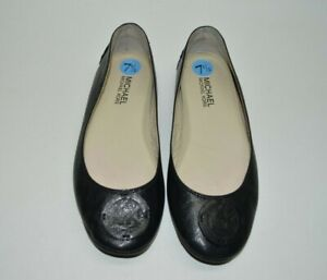 Michael Kors Black Leather Logo Casual Flats Size 7.5