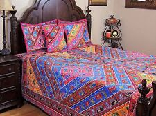 Aari Elephant Embroidered Multicolor Duvet Ethnic Indian Sari Bedspread~ King