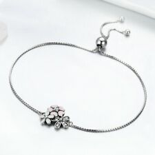 Daisy Flower Chain Bracelet Jewelry Women Fashion Silver Cubic Zirconia Cherry