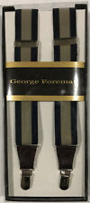 George Foreman - Leather End Clip - Suspenders - Navy & Khaki - Brand New
