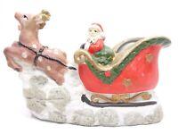 VINTAGE 1981 CERAMIC HAND PAINTED CHRISTMAS SANTA'S SLEIGH & REINDEER PLANTER