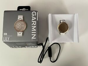 Garmin Lily GPS Smartwatch Cream Gold Bezel with White Case and Silicone Band