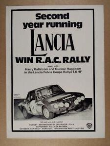 1970 Lancia Fulvia Coupe Rallye 1.6 HF vintage print Ad
