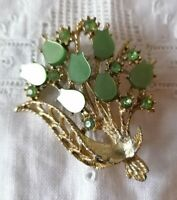 Vintage Jewellery Green Lucite Petal Gold Tone Flower Spray Retro 1950s Brooch