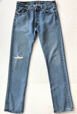 Vtg Levis 501 Distressed Jeans Tag 33 x 36 Mexico Denim Button Fly Holes Levi's