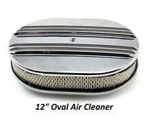 "Aluminum AIR CLEANER 12"" Oval  Quadrajet Holley Edelbrock Carburetor CALCUSTOM"