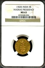 Madras Presidency East India Company 5 Rupees Certified Gold Coin 1820