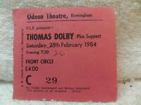 Thomas Dolby – Ticket stub for Birmingham Odeon Theatre February 26th 1984