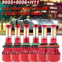 9005+9006+H11 6000K 1008000LM Combo 4-Side LED Headlight Kits High Low Bulb Lamp