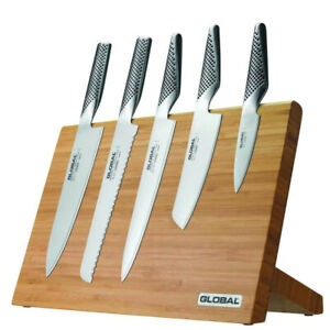 NEW GLOBAL TAKUMI 6PC MAGNETIC BAMBOO KNIFE BLOCK SET 6 PIECE