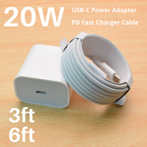For iPhone 12 11 XR 20W PD Fast Power Adapter Wall Charger USB-C to iPhone Cable