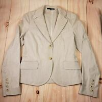 Theory Womens Beige Striped Long Sleeves Tailored Collar 2 Button Jacket Size 6