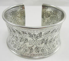 """Sterling 1.5"""" Wide Cuff Bracelet Repousse Hammered Floral Berries Design 6 7/8"""""""