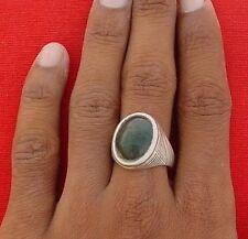 Antique Tribal Old Silver Gem Stone Ring Rajasthan