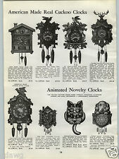 1940 PAPER AD Animated Novelty Wall Clock Clocks Cocker Spaniel Good Luck Cat