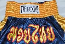 Muay Thai Shorts Pants Kick Thai Boxing Mma Paints Fighter Size Xxl Navy & Gold