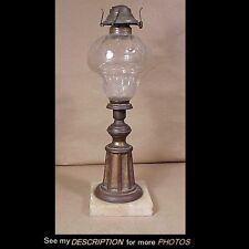 Large Early Kerosene Table Lamp Cut Thumbprint Font Brass Column