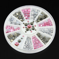 3D Glitter Nail art Carrousel blanc rose gris strass pour ongles 382