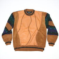 Vtg 90s Saxony Textured Sweater Leather & Acrylic 3D Biggie Cosby Hip Hop XL