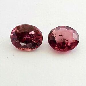 0.84 carats near pair oval loose natural rubies, NO RESERVE!