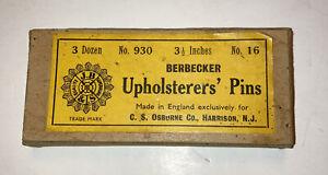 "Vintage BERBECKER Upholstery Pins 3.5"" Made In England Osbourne 3 Doz #930 #16"