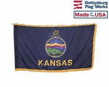 3x5' Kansas Indoor Flag with Pole Hem & Gold Ornamental Fringe