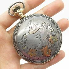 Antq 1910 New York Standard Co 925 Sterling Silver Large Pocket Watch
