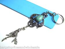 Vintage Antique Dangling Turquoise Stone Crystal Keyring Charm Handbag Blue