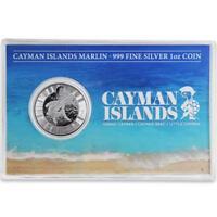 2017 1 oz Cayman Islands Marlin .999 Silver Coin Prooflike w/ Postcard COA #A426