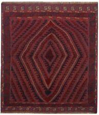 3406 # Tribal Mashwani Red/Blue Color Mashwani Gazak Kilim Rug (138 x 125 cm)