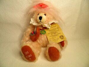 RARE Herman Mohair Bear Collectible Peachy Pink # 180 Ursula's Birthday Button