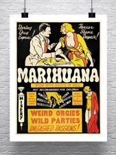 Marijuana Vintage Cannabis Movie Poster Rolled Canvas Giclee Print 24x30 in.