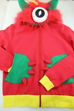 Kids Dress Up Red Monster Hoodie One Eye Fuzzy Zip Up Size 7 to 10 Brand New