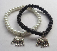 Black / White Elastic Glass Pearl Bead Bracelet Elephant Charm - NEW