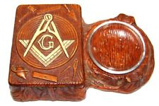VINTAGE ART DECO MASONIC SQUARE & COMPASS SYROCO WOOD CIGARETTE BOX AND ASHTRAY