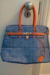 Ladies trompe l'oeil designer prints blue and orange canvas tote hand bag Medium
