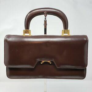 Vintage Tano of Madrid Brown Leather Gold Baguette Satchel Purse Handbag