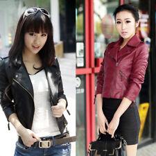 Women Lapel Slim Motorcycle Leather Soft Leather Zipper Jacket Coat Outwear Tops
